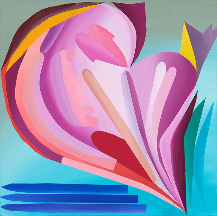 """Kristi Kongi """"Autoportree. Lootuse lill. Roosaka varjundiga"""" 2021. Õlimaal lõuendil, 40 x 40 cm."""